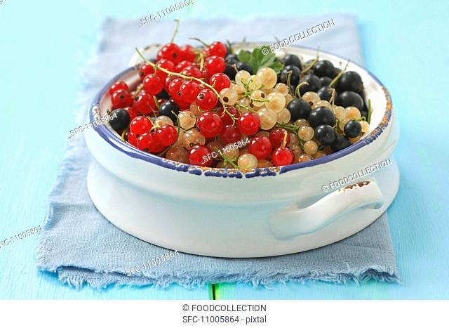 Redcurrants, whitecurrants and blackcurrants in a bowl