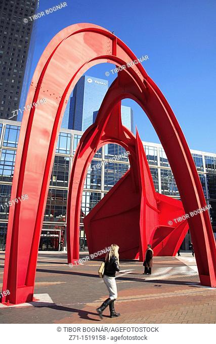 France, Paris, La Défense new business district, modern architecture