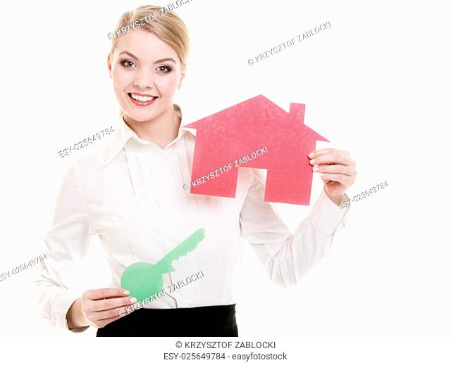 woman real estate agent holding red paper house and key. property and business accomodation or home buying ownership concept,isolated on white background