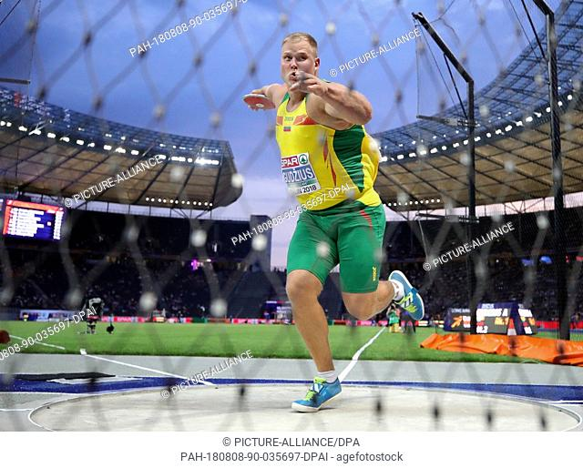 08.08.2018, Berlin: Athletics, European Championships in the Olympic Stadium: Discus throw, Men, Final, Andrius Gudzius from Lithuania in action