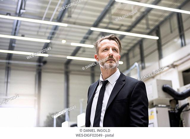 Serious businessman in factory shop floor