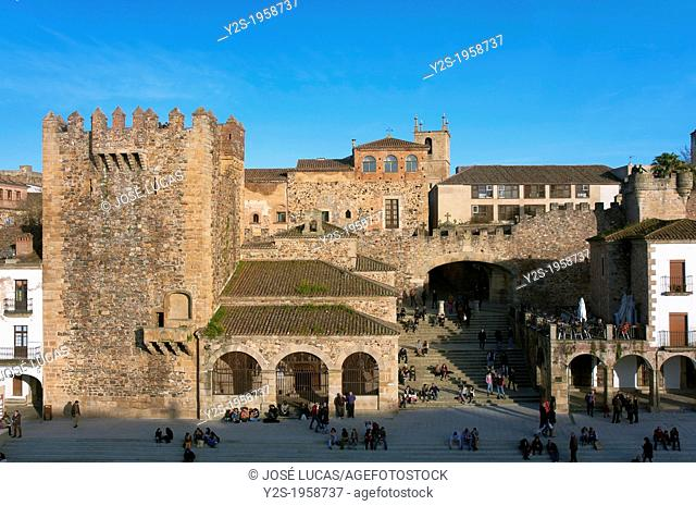 Main Square, Bujaco tower -12th century and Hermitage of the Peace -18th century, Caceres, Region of Extremadura, Spain