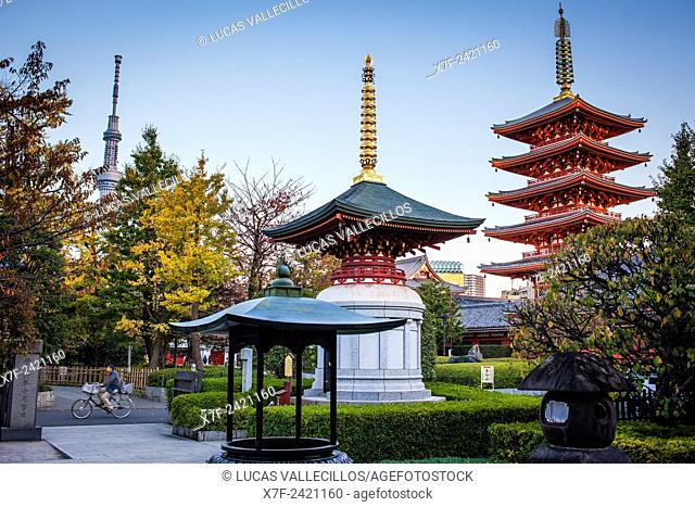 Senso-ji Temple and in background at left the Sky Tree Tower, Asakusa,Tokyo, Japan