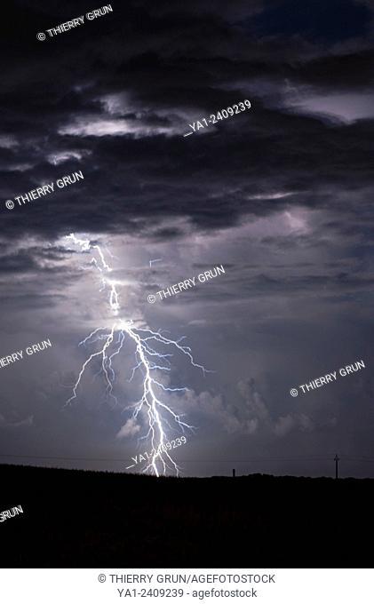 France. Gers 32, near Jegun, Thunderstorm and lightning at ending summertime