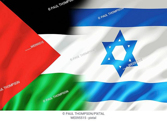 The Israel and Palestine flags shown with ripples caused by the wind