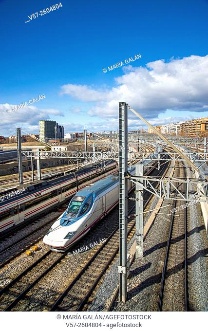 AVE high-speed train traveling near Atocha railway station. Madrid, Spain