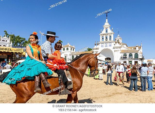 A Family On Horseback, El Rocio Festival, El Rocio, Andalusia, Spain