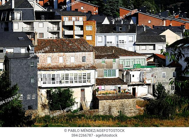 View of the facades in Viana do Bolo, Orense province, Spain