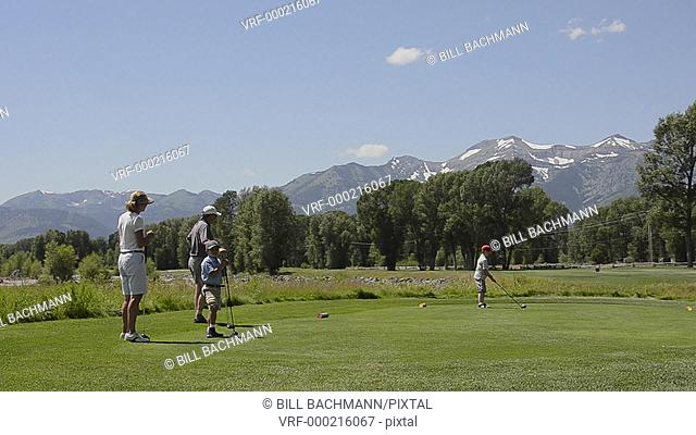 Jackson Hole Wyoming with the beautiful upscale Jackson Hole Golf Course with Tetons Mountains in background