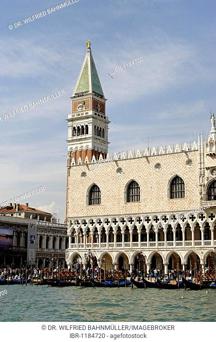 Doge's PalacePiazza and Campanile at the St Mark's Square, Canale Grande, Venice, Venezia, Italy, Europe
