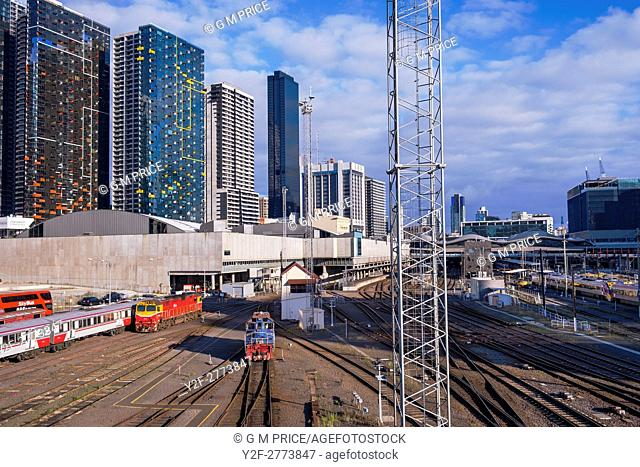 rail yard and corporate buildings near Spencer Street Station, Melbourne