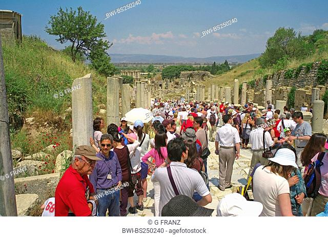 tourists visiting the ancient site of Ephesus, Turkey, West Anatolia, Ephesus
