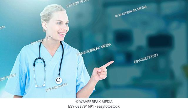 Female doctor interacting with air touch