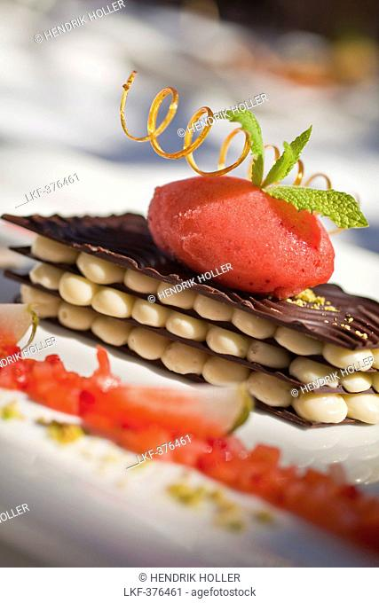 Mille Feuille of white and dark chocolate with marinated strawberries and strawberry sorbet, Restaurant Bosmans at Grande Roche Hotel, Paarl, Cape Town