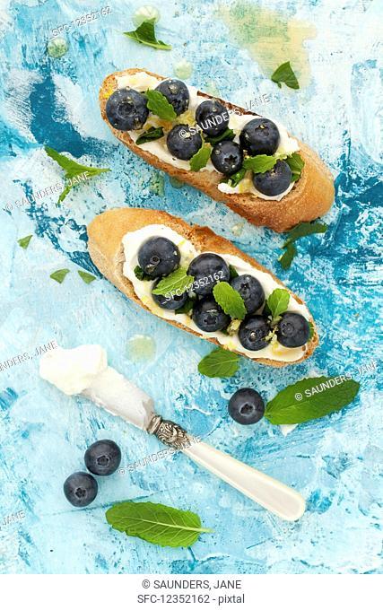Crostini with mascarpone, blueberries, lemon zest and mint