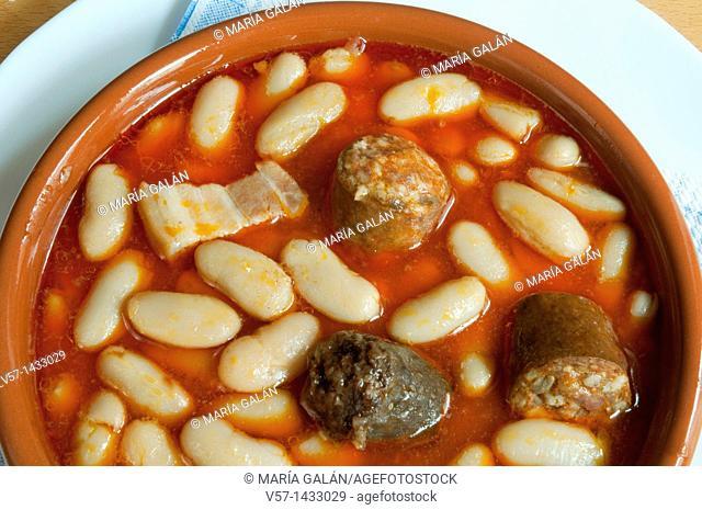 Fabada Asturiana serving, close view. Asturias, Spain