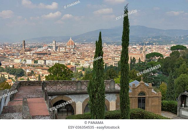 Cityscape of Florence from cemetery delle Porte Sante, Italy with the Duomo Cathedral and bell tower