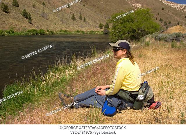 Trout Creek Trail hiker, Deschutes Wild & Scenic River, Prineville District Bureau of Land Management, Oregon