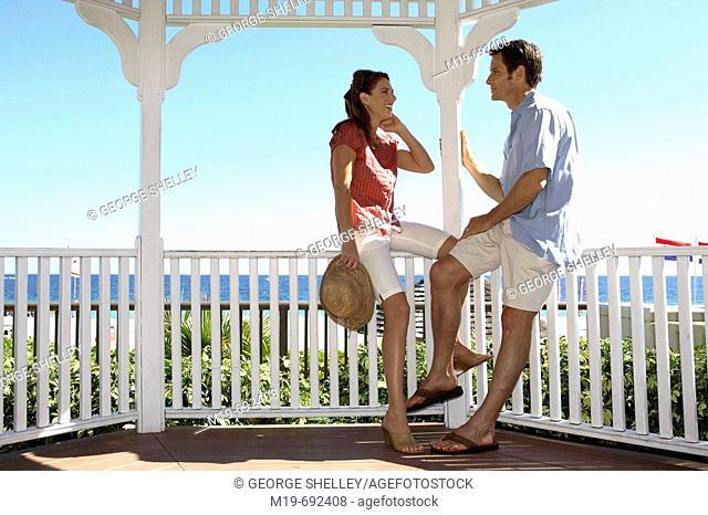 Couple talking in a Gazebo