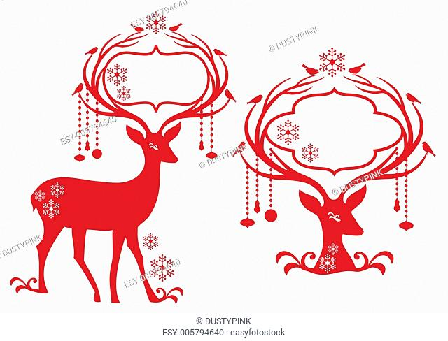 christmas frame with reindeer, vector