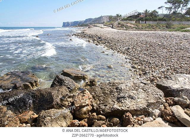 Coastline of Mediterranean Las Rotas nature reserve in Denia ALicante Spain
