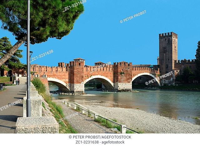 Castelvecchio bridge Ponte Scaligero over the river Adige in Verona - Italy