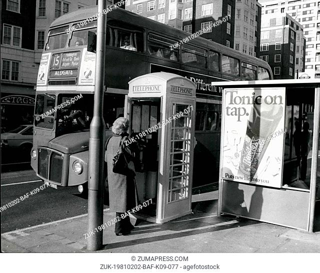 Feb. 02, 1981 - PHONE BOXES GO YELLOW: Ever since the early 1930's phone boxes throughout Britain have been red-but now as an experiment they are painting them...