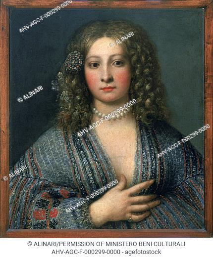 Painting by Gerolamo Forabosco entitled 'Portrat of a courtesan', in the Uffizi Gallery in Florence (1604 -1679), shot 1990 by Lorusso, Nicola for Alinari