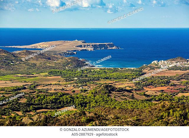 Cavalleria Cape. View from Toro Mount. Es Mercadal Municipality. Minorca Island. Balearic Islands. Spain