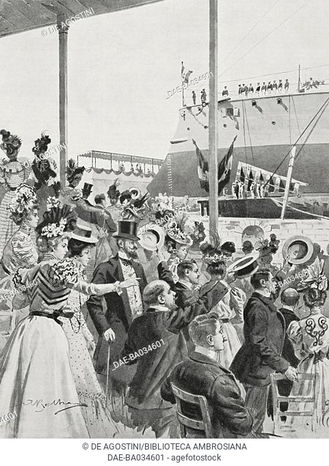 Launch of the Italian cruiser Puglia, Taranto, Italy, drawing by Achille Beltrame (1871-1945), from L'Illustrazione Italiana, Year XXV, No 40, October 2, 1898