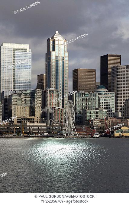 Downtown Seattle at sunset from Elliott Bay - Seattle, King County, Washington, USA