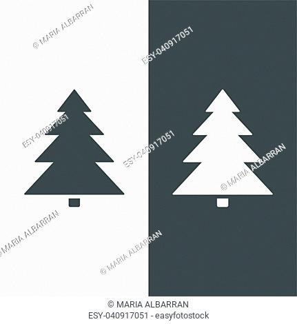 Isolated Christmas tree icon on black and white background. Vector illustration
