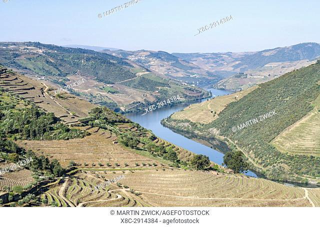 Valley of river Douro near Valenca do Douro. The valley of river Douro. It is the wine growing area Alto Douro and listed as UNESCO World heritage