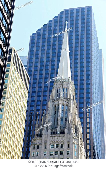 Chicago Temple Building. United Methodist Church. Tallest church building in world. Illinois, USA