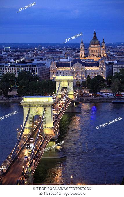 Hungary, Budapest, Danube River, Chain Bridge, Gresham Palace, Basilica,