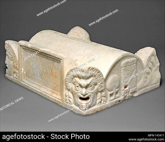 Marble lid of a cinerary chest. Period: Early Imperial; Date: late 1st century A.D; Culture: Roman; Medium: Marble; Dimensions: Overall: 6 5/8 x 19 1/2 x 16 1/4...