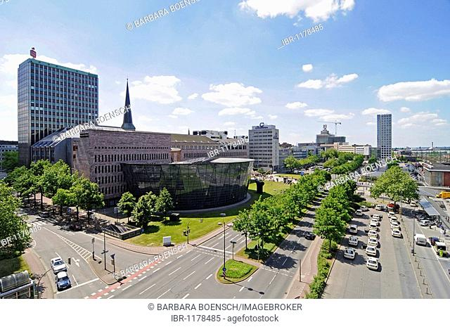 City overview, city and state library, library, train station, Harenberg city center, HCC, Dortmund, NRW, North Rhine-Westphalia, Germany, Europe