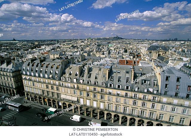 Rue de Rivoli,looking over the city to Montmartre hill