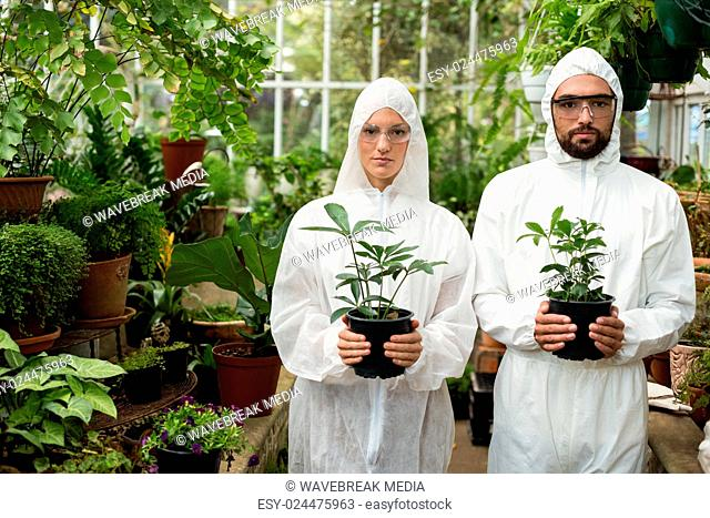 Portrait of scientists in clean suit holding potted plants