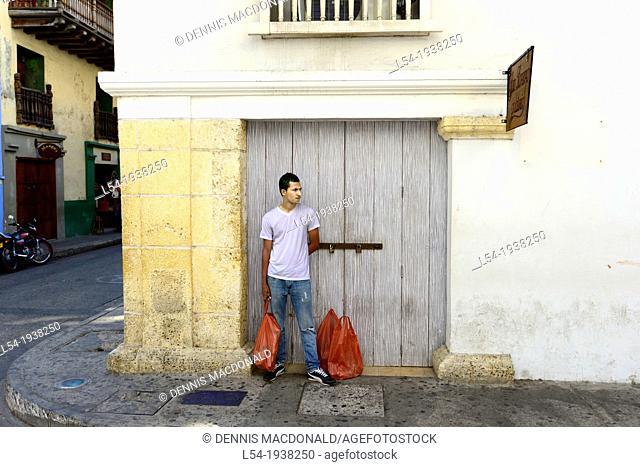 Waiting Man Old City Cartagena Colombia SA South America Caribbean