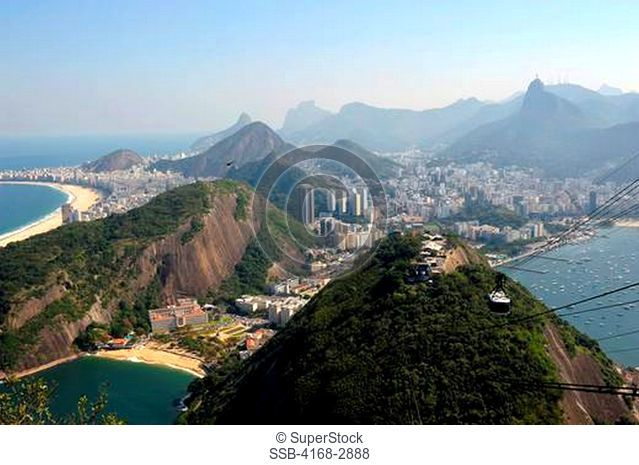 Brazil, Rio De Janeiro, View From Sugarloaf Mountain Towards Corcovado Right And Copacabana Beach Left