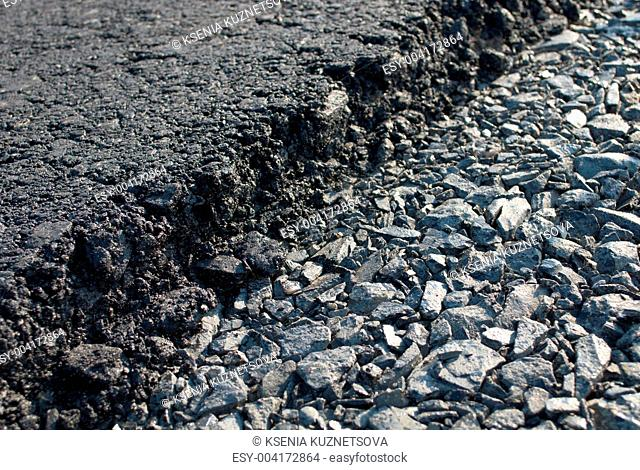 Layer of freshly applied asphalt