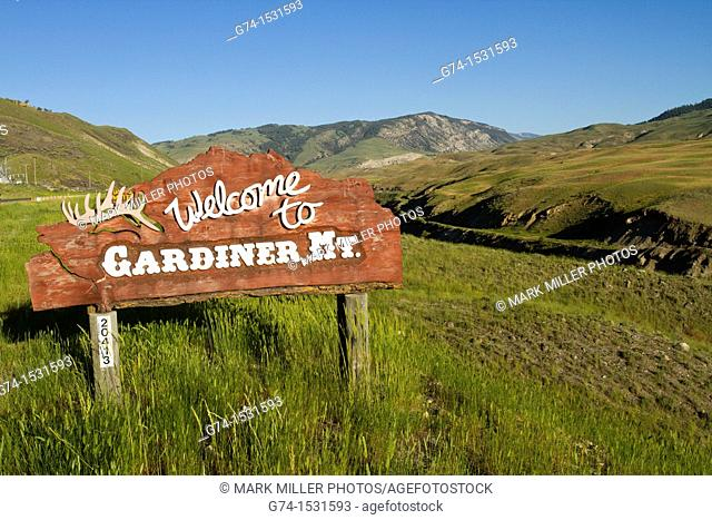 Welcome to Gardiner (Montana, USA) sign by Yellowstone National Park North entrance