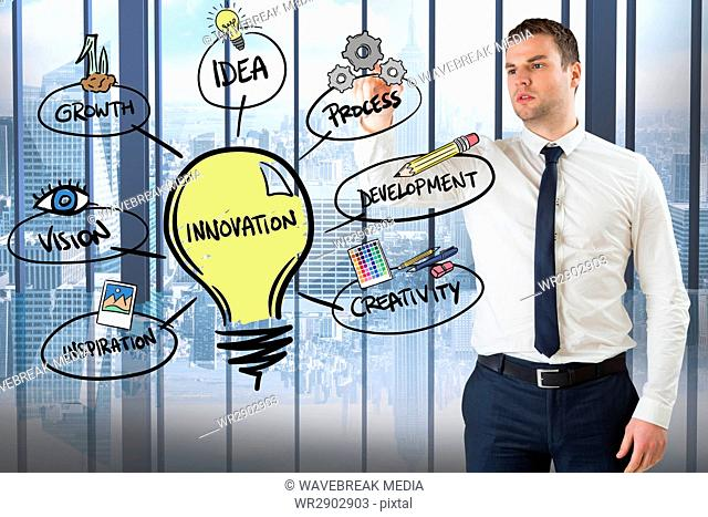 Confident businessman looking at innovation diagram in office