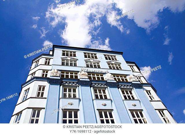View of the Stella House in Hamburg, Germany  One of the few buildings in the port with no bricks on the facade  Build 1922