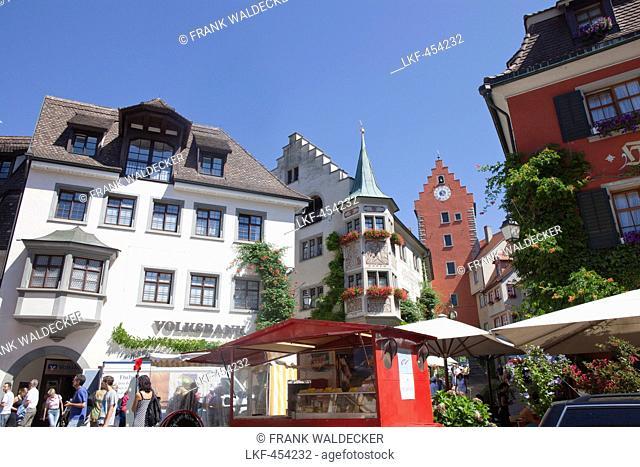 Historical center of Meersburg, Lake Constance, Swabia, Baden-Wuerttemberg, Germany, Europe