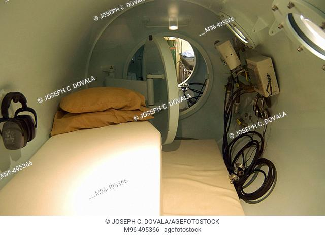 Inside recompression chamber. Utila. Honduras