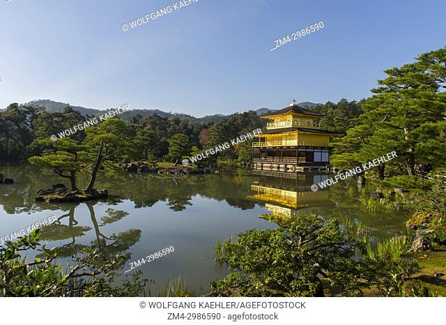 The Kinkaku-ji or Temple of the Golden Pavilion, part of the Rokuon-ji Temple (Deer Garden Temple), a Zen Buddhist temple in Kyoto