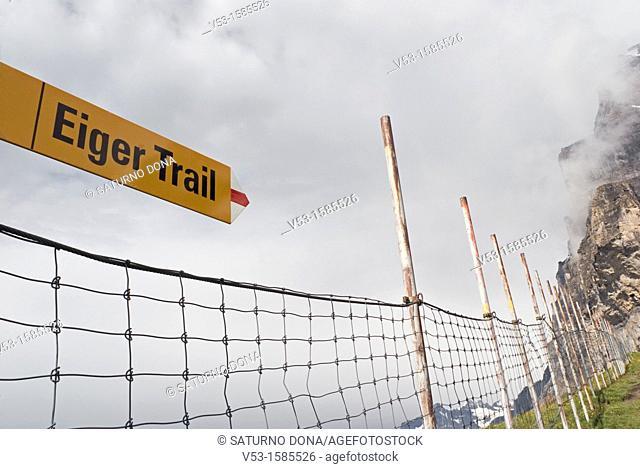 safety net along Eiger Trail, Bernese Oberland, Switzerland