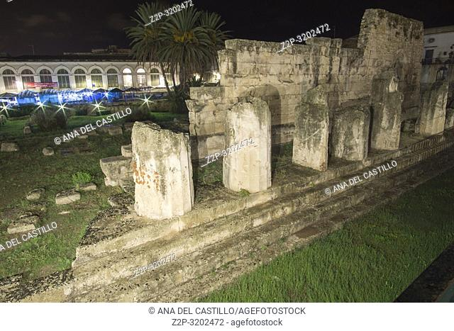 Temple of Apollo Night in Ortigia island Siracusa Syracuse Sicily island Italy